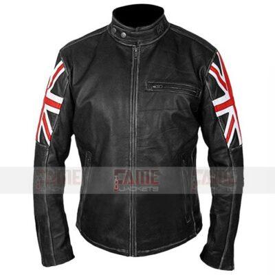 Mens UK flag Black Leather Jacket