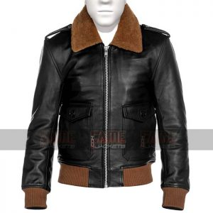 Mens Vintage Black Leather Fur Collar Slim Fit Jacket