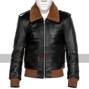 Mens Vintage Black Leather Fur Collar Slim Fit Jacket