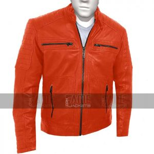 Mens Vintage Cafe Racer Orange Leather Jacket Sale