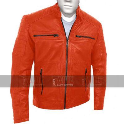 Mens Vintage Cafe Racer Orange Leather Jacket Sale