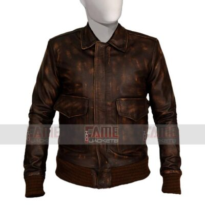 Mens Casual Distressed Brown Leather Jacket