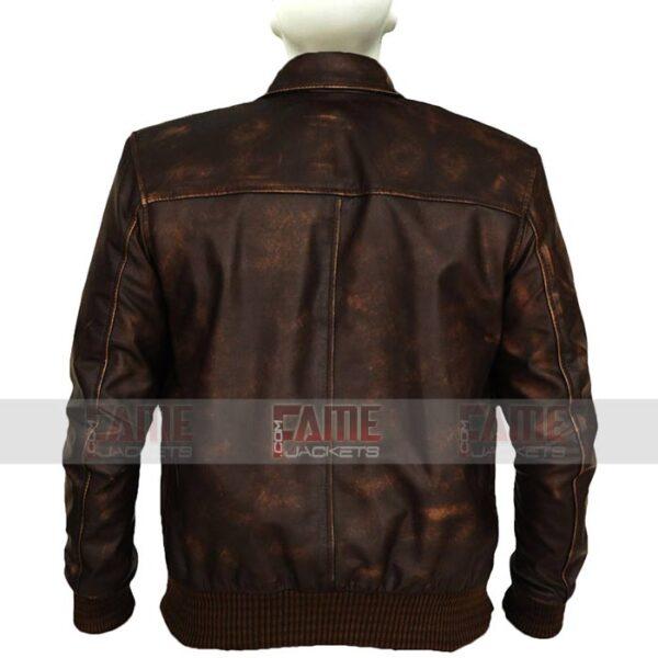 Mens Vintage Casual Distressed Brown Leather Jacket
