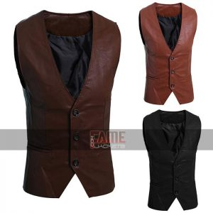 New Mens Real Leather Motorcycle Vest