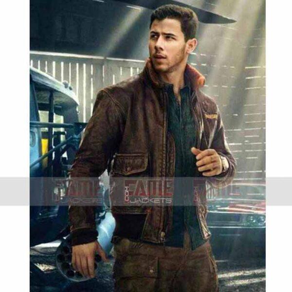 Nick Jonas Fur Collar Winter Bomber Jacket For Men