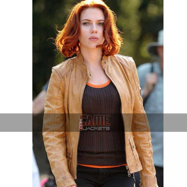 Women Brown Slim Fit Leather Jacket