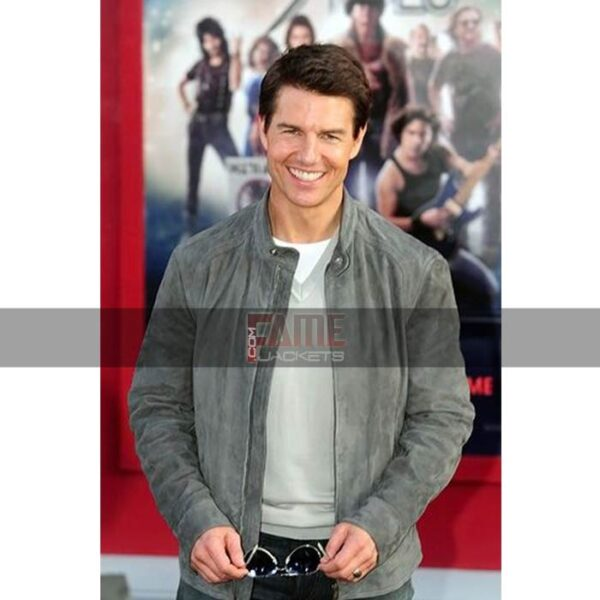 Mens Casual Grey Distressed Leather Jacket