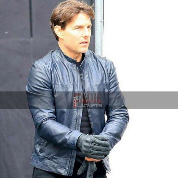 Get Blue Biker Leather Jacket