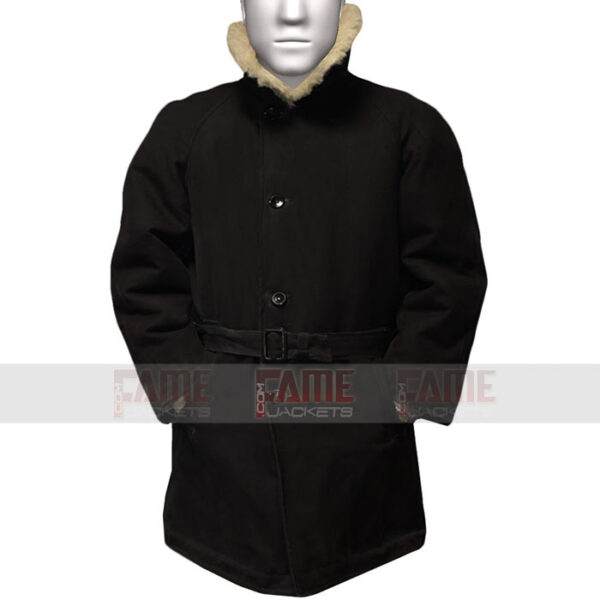 USSR Warm Officers Black Wool Fur Collar Winter Coat
