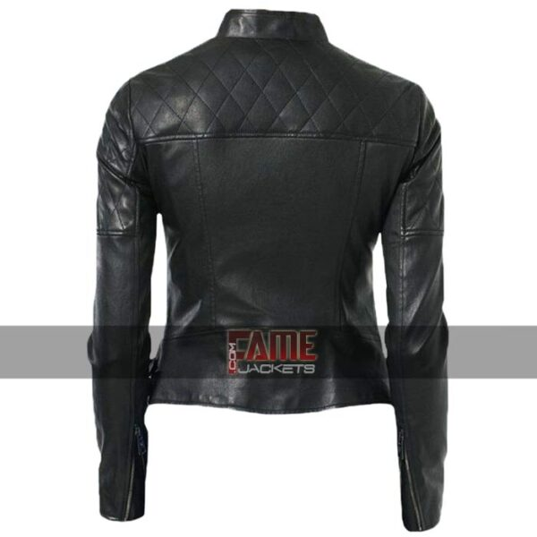 Women Diamond Quilted Real Leather Biker Jacket