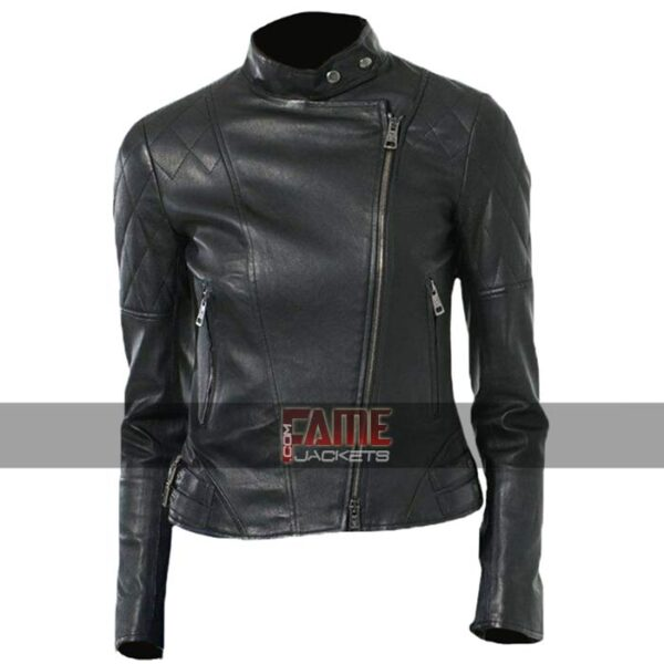 Women Diamond Quilted Leather Biker Jacket