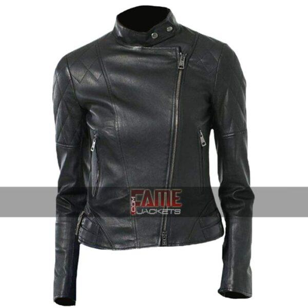 Women Diamond Quilted Leather Biker Jacket