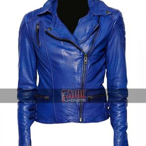 ladies blue slim fit leather biker jacket