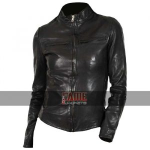 Ladies Latest Design Black Leather Jacket
