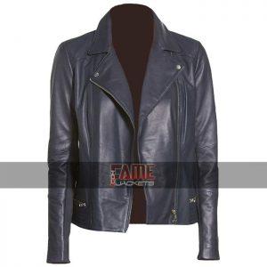 Women Navy Blue Leather Jacket