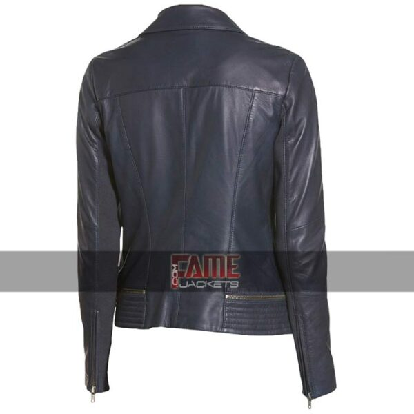 Ladies New Zipper Style Biker Leather Jacket