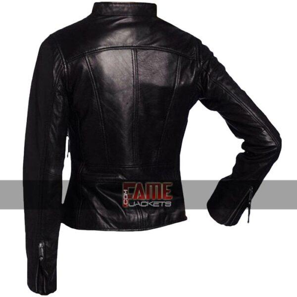 Ladies Vintage Black Leather Biker Jacket