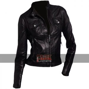 Women Vintage Style Black Real Leather Biker Jacket