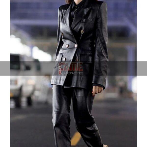 Ladies Casual Black Leather Blazer