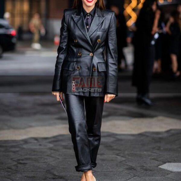 Ladies Casual Black Leather Jacket