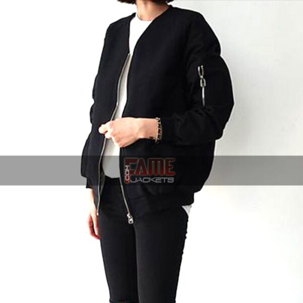 Ladies Casual Black Cotton Bomber jacket
