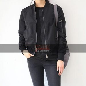 Women Casual Black Bomber Jacket
