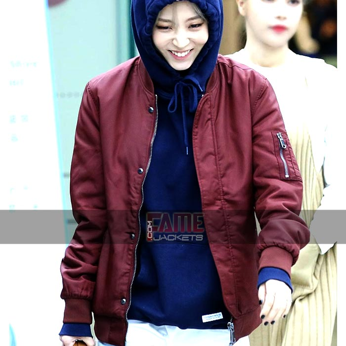 Ladies Maroon Cotton Bomber Jacket For