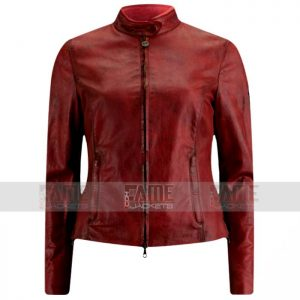 Women Casual Maroon Slim Fit Leather Jacket