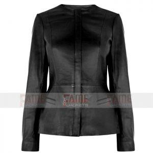 Women Collarless Black Leather Jacket