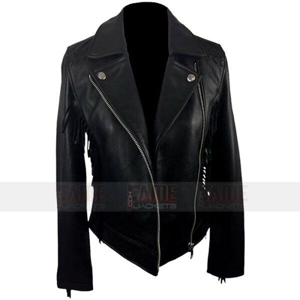 Ladies Black Moto Leather Jacket