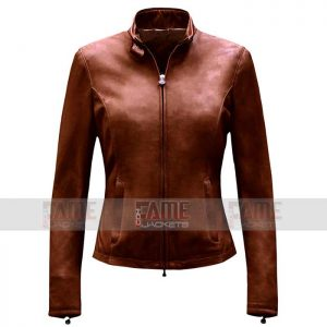 Women Latest Style Casual Brown Slim Fit Suede Jacket