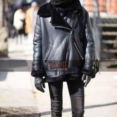 Women Plus Size Aviator b3 Fur Winter Warm Jacket