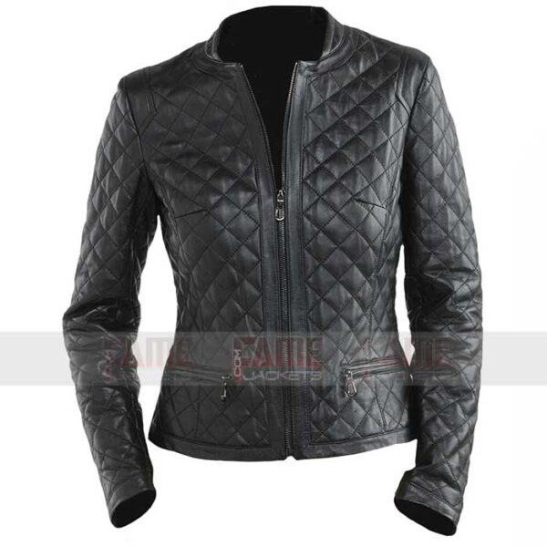 Mens Diamond Quilted Biker Real Leather Jacket