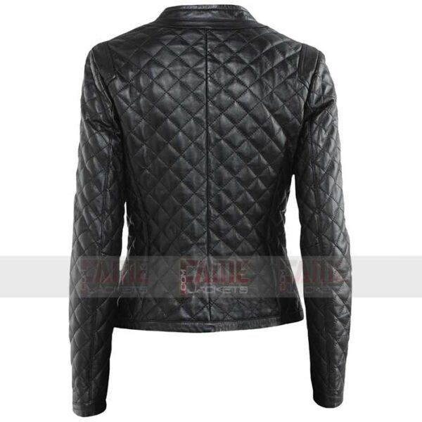 Ladies Diamond Quilted Slim Fit Biker Jacket