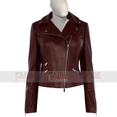 Ladies Real Brown Biker Leather Jacket