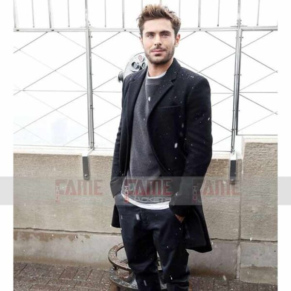 Zac Efron Mens Black Wool Coat For Men Online