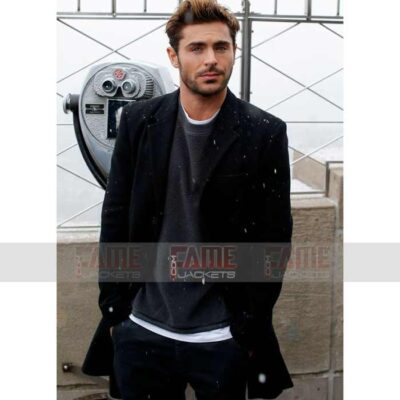 Zac Efron Mens Black Wool Coat For Winters On Sale