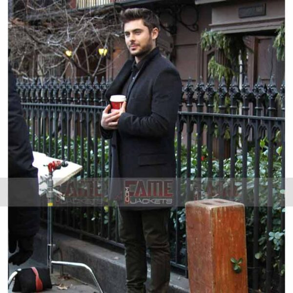 Zac Efron Black Wool Winter Coat For Men Online Sale