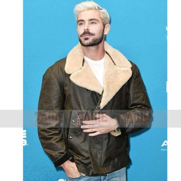 Zac Efron Mens Brown B3 Shearling Lining Winter Jacket Sale