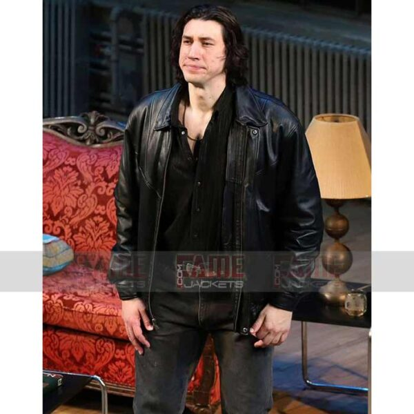 Adam Driver Casual Mens Black Leather Jacket Sale