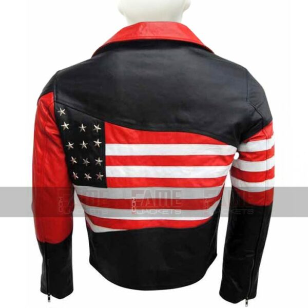 American Flag Womens Leather Biker Jacket