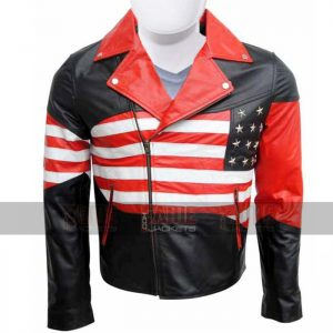 American Flag Mens Leather Biker Jacket