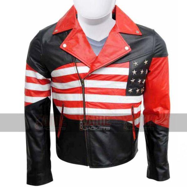 American Flag Mens Leather Biker Jacket