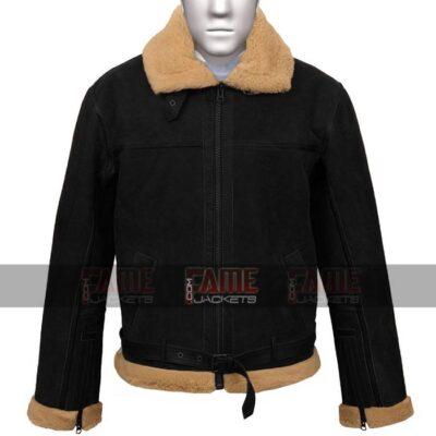Gents b4 Flying Aviator Black Suede Leather Jacket