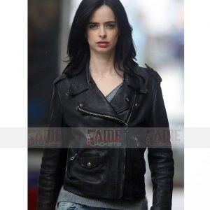 Jessica Jones Krysten Ritter Black Slim Fit Leather Jacket