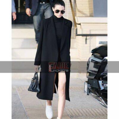 Kendall Jenner Black Wool Buttonless Women Winter Peacoat