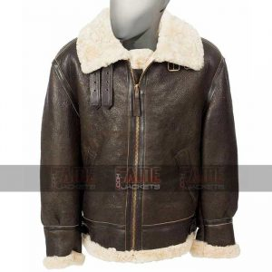 Mens Bomber B3 Aviator Fur Lining Brown Leather Jacket