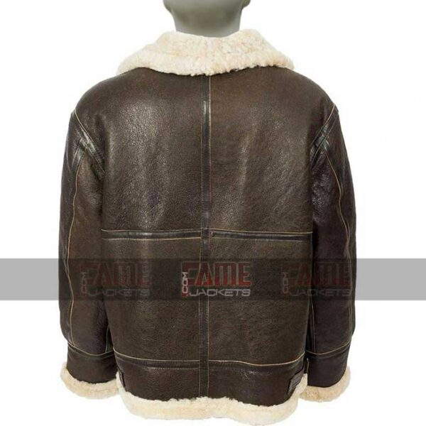 Mens B3 Aviator Fur Lining Brown Leather Bomber Jacket