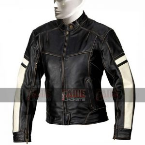 Men Slim Fit Real Distressed Black Leather Jacket