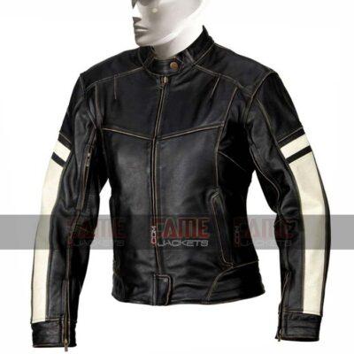 Men Slim Fit Real Distressed Black Leather Jacket